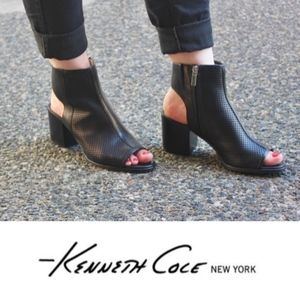 Kenneth Cole Open Toe Black Ankle Booties